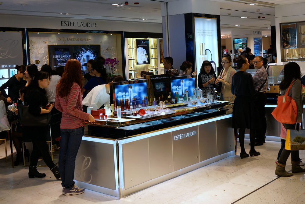 Mainland Chinese shoppers going crazy for cosmetics at Lane Crawford in the Ocean Terminal, TST, Kowloon