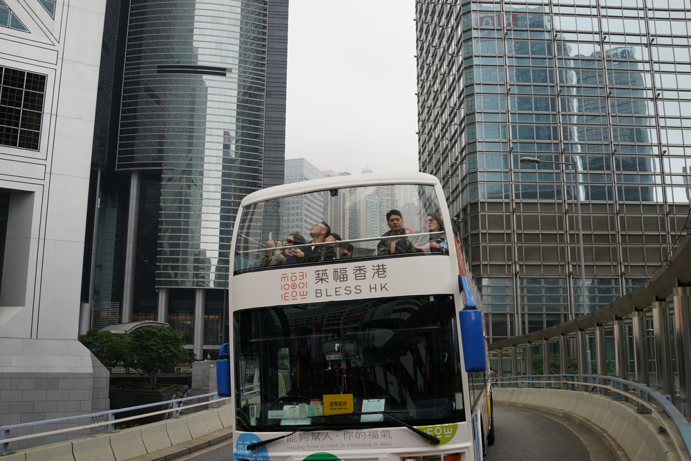 I am becoming a bit of a tourist bus spotter, it is nice to record peoples faces as they trundle around Hong Kong seeing the sights.