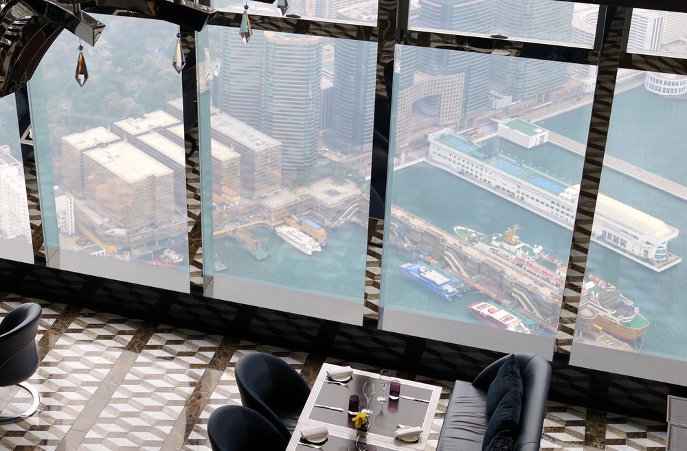 The very impressive view from the lobby of the Ritz Carlton Hotel which is on the 103rd floor!