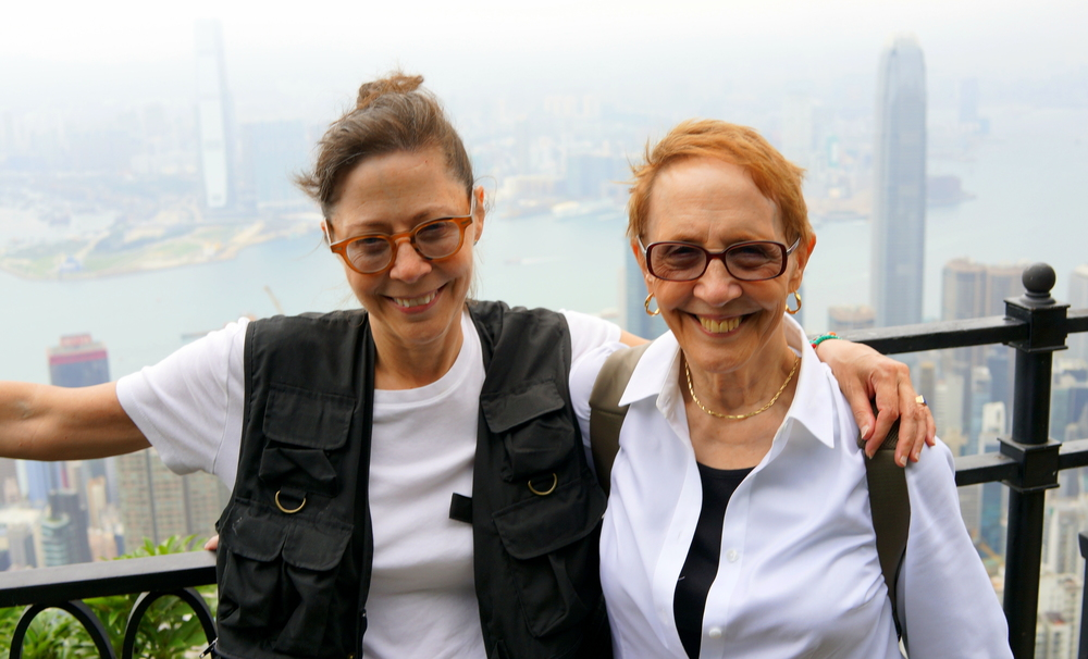 Joyce and Rochelle, sisters enjoying the view from the Peak