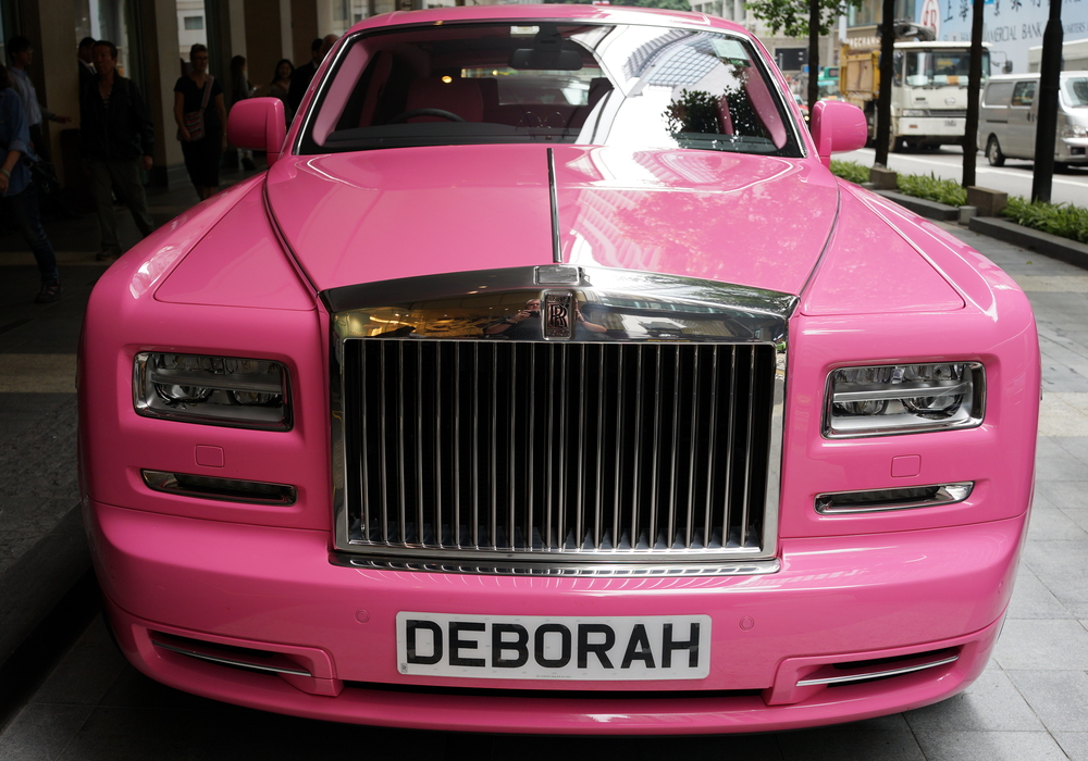 Deborah's Pink Rolls Royce Phantom from the front