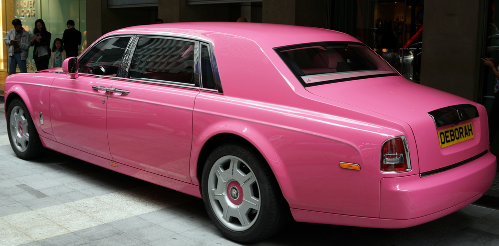 Deborah's Pink Rolls Royce Phantom from the side