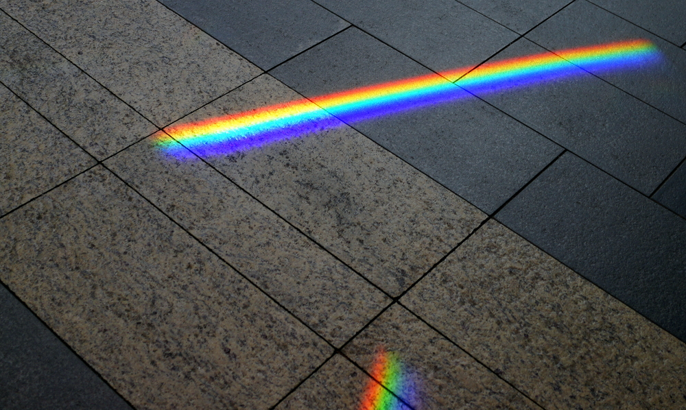 A rainbow on the pavement