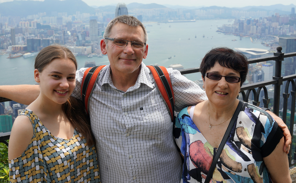 Meet the Stolarek's - Joe, Rose and Julie who are in Hong Kong for a week or so... this image is at my spot at Peak before the Typhoon arrived!