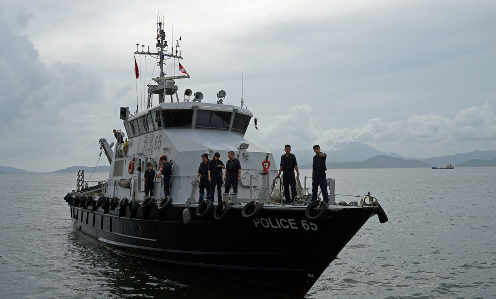 A Police patrol boat arriving at Lamma Island with 20 cadets on board.