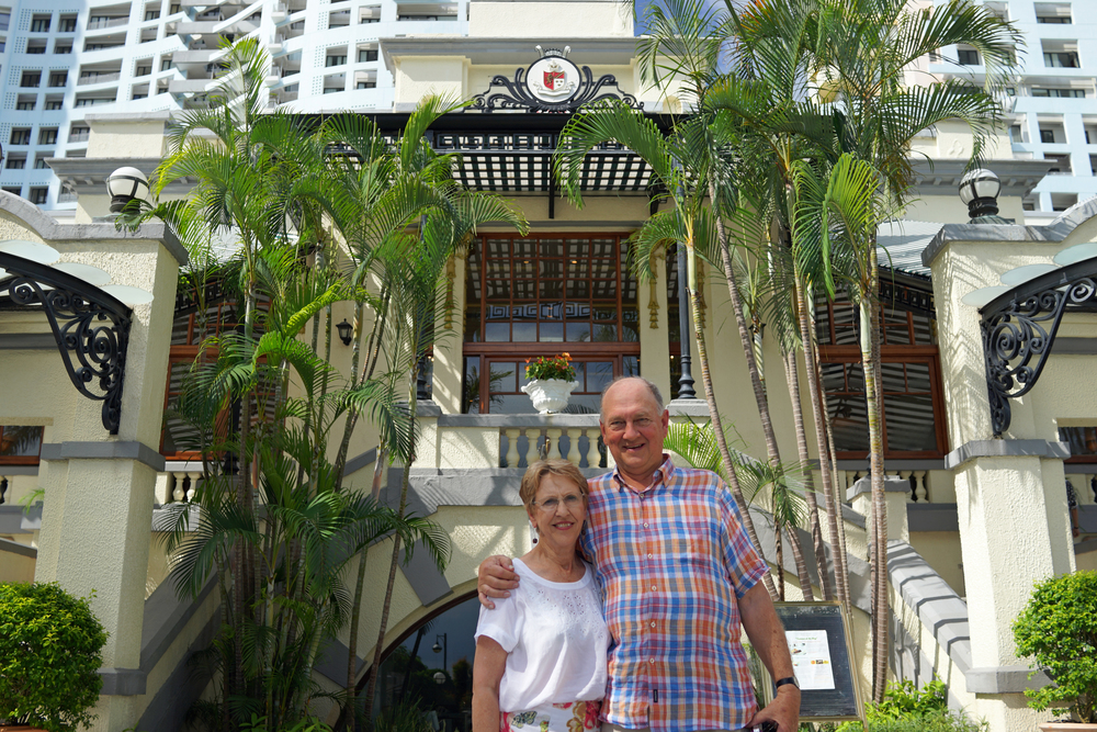 Meet John and Margaret aka Lord and Lady Swan at the replica of the old Repulse Bay Hotel on a glorious sunny day
