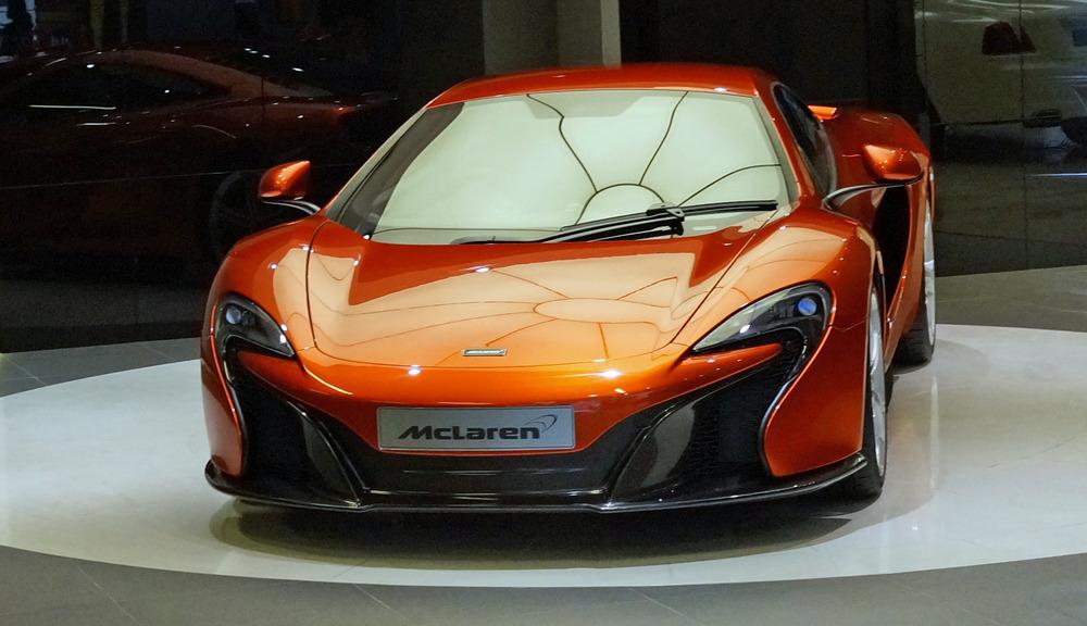 Finally, a shot of the new McLaren sports car in the McLaren showroom