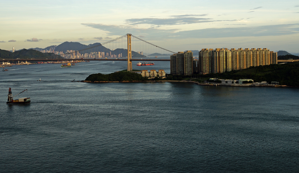 This is the view from our balcony, quite stunning at sunset - Hong Kong Island is in the distance.