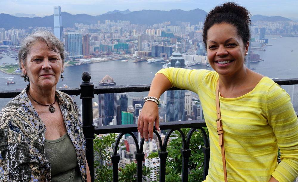 Paula (on the left) and Elizabeth, travel agents from the USA, doing the Peak from my favourite spot.