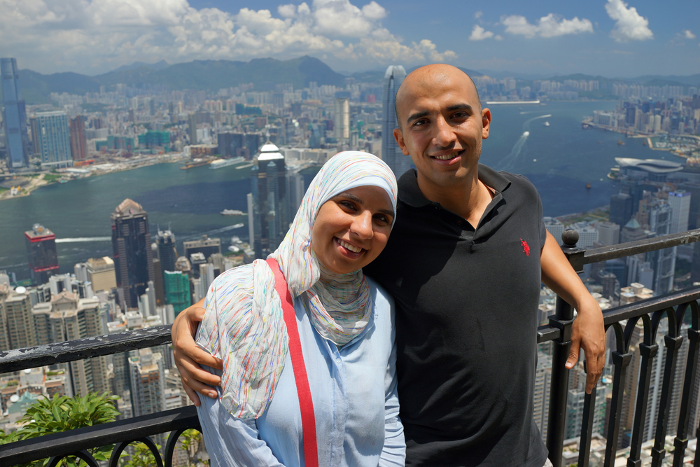 My first clients from Egypt - meet Salma and Ahmed enjoying the lovely view from my spot at the Peak.