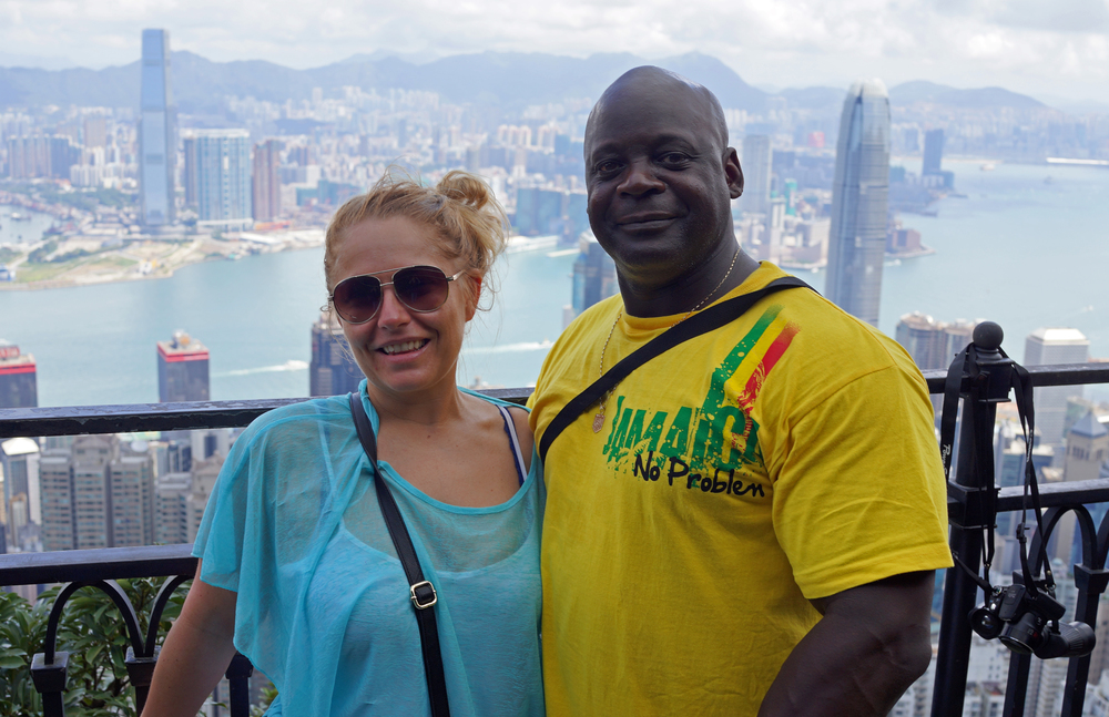 Meet Joanne and Frank from England enjoying their first trip to Hong Kong... as usual the background is my spot at the Peak...