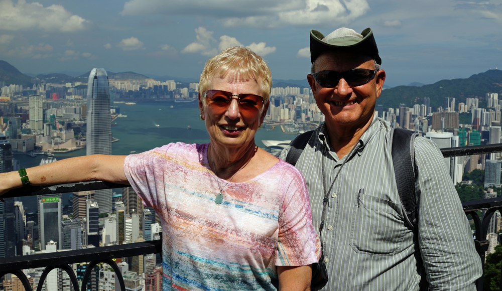 Taylor and Lorraine enjoying the simply staggering views of Hong Kong from my spot at the Peak