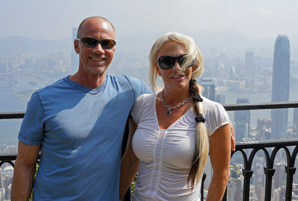Marshall and Reggie from the USA enjoying the stunning city views from my spot at the Peak on Hong Kong Island