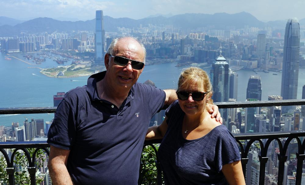 Bill and Jan relaxing at the spot at Victoria Peak, Hong Kong.