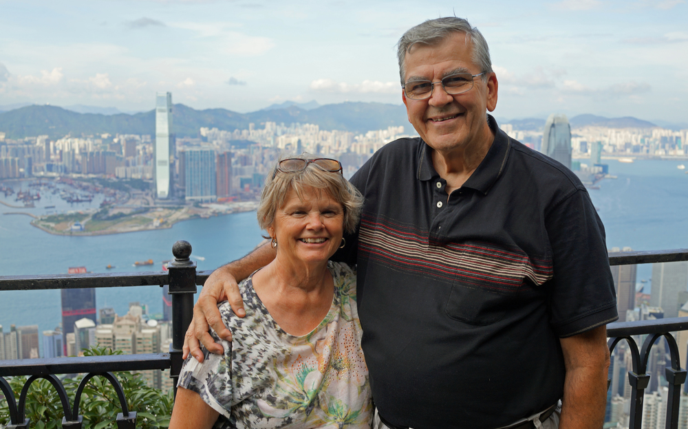 Linda and Ken enjoying the super view from my spot at Victoria Peak