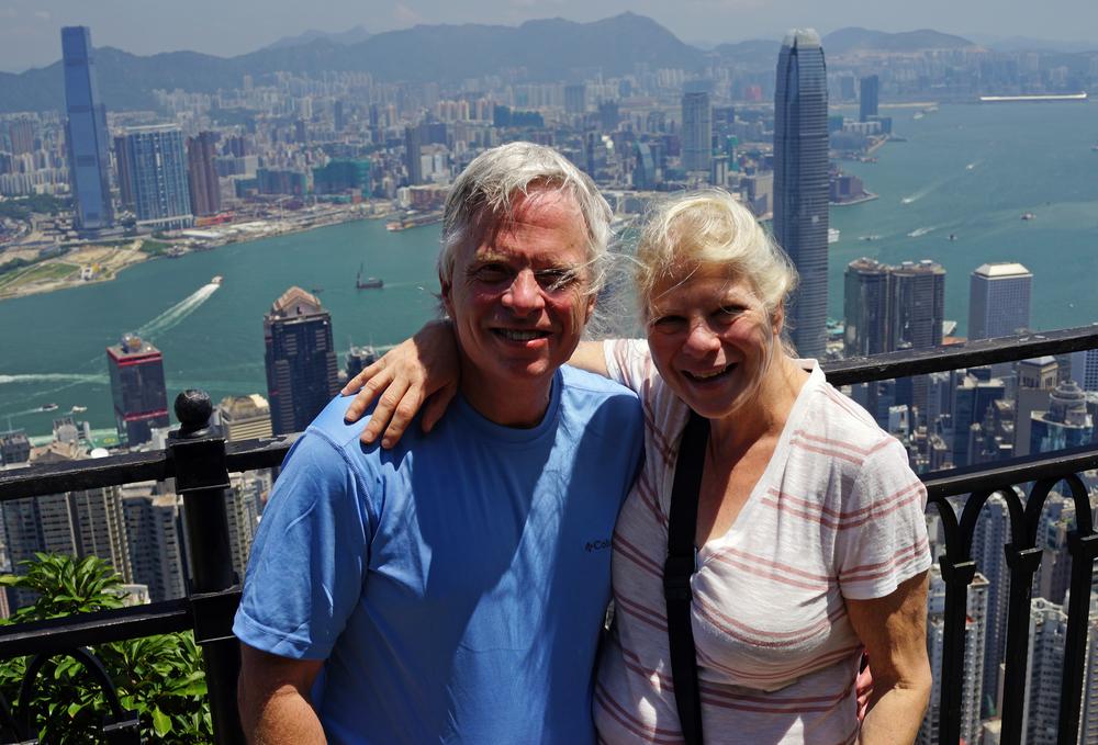Meet the Pollacks enjoying the staggering city view of Hong Kong from my spot at Victoria Peak, Hong Kong.