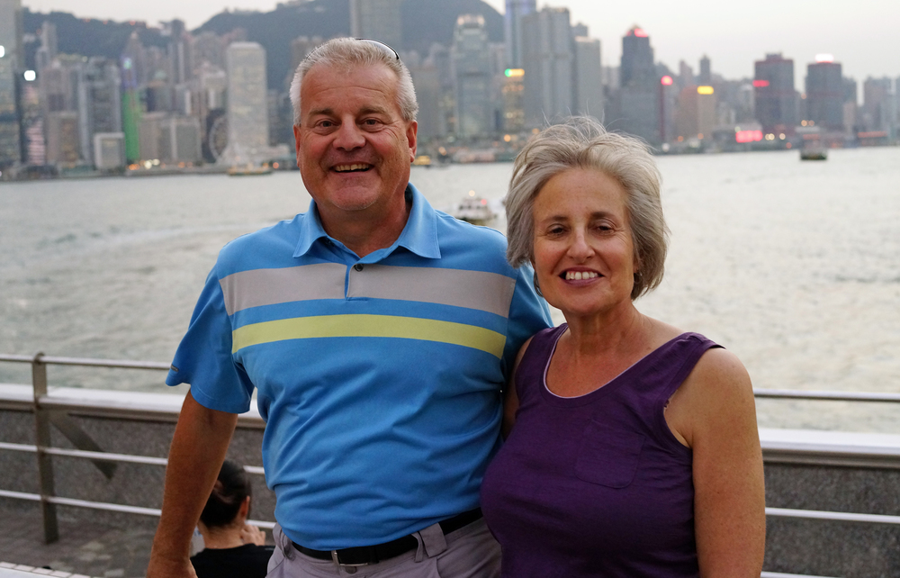 Al and Jill enjoying the view of Hong Kong Island from TST Promenade next to the Star Ferry