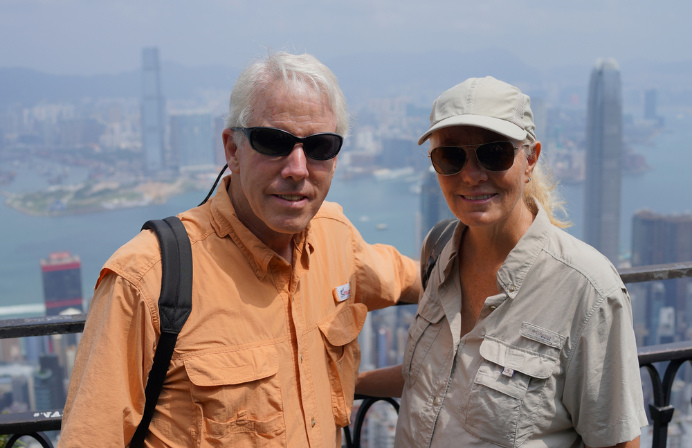 Rol and Tacie enjoying the view from my spot at Victoria Peak