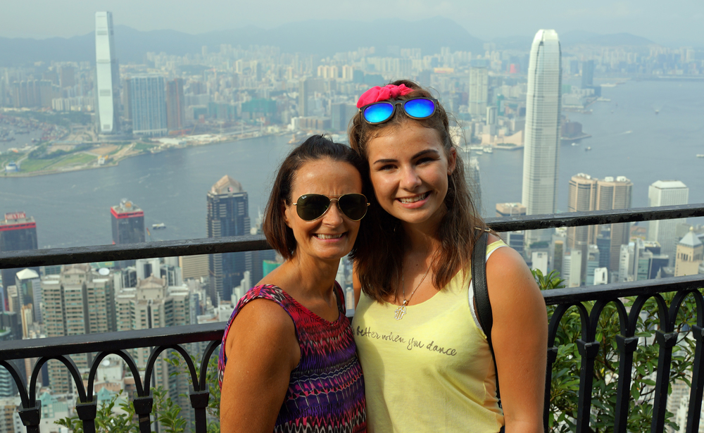 Meet the Nelsons, enjoying the fabulous views from my spot at the Peak in Hong Kong