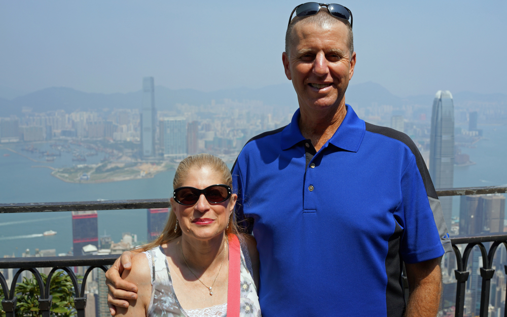Jeff and Marion at my spot at Victoria Peak enjoying the magnificent (if somewhat hazy) views of the city