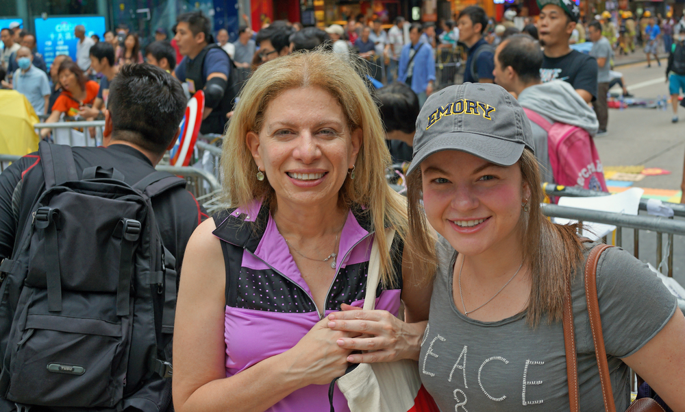 Shari and Ali in the thick of it in Mong Kok in Kowloon
