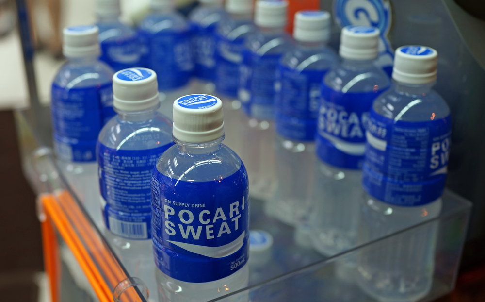 Japanese Gatorade, vile and disgusting. Pocari Sweat is often mistaken for water - drink at your peril.