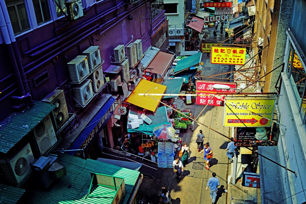 A Central street scene taken from the famous Mid Levels Escalator on Hong Kong Island - shown is the street market around Graham Street.  Go here for all my images of the Mid Level Escalator.