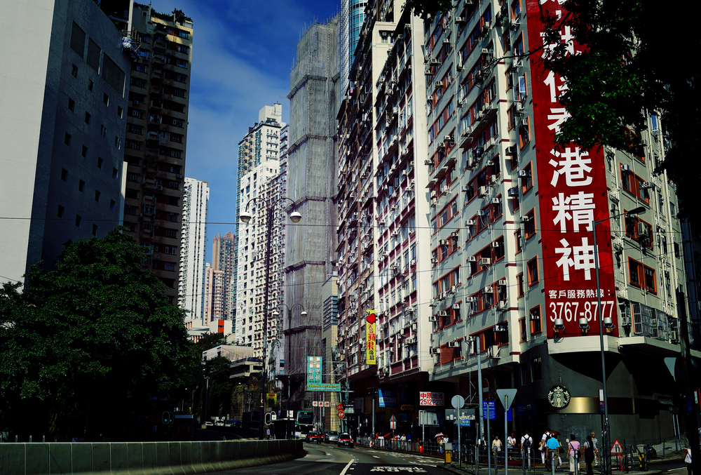 Street scene in Tin Hau, a residential district between Causeway Bay and North Point on Hong Kong Island.. I visit quite often as I go to the Metropark Hotel.
