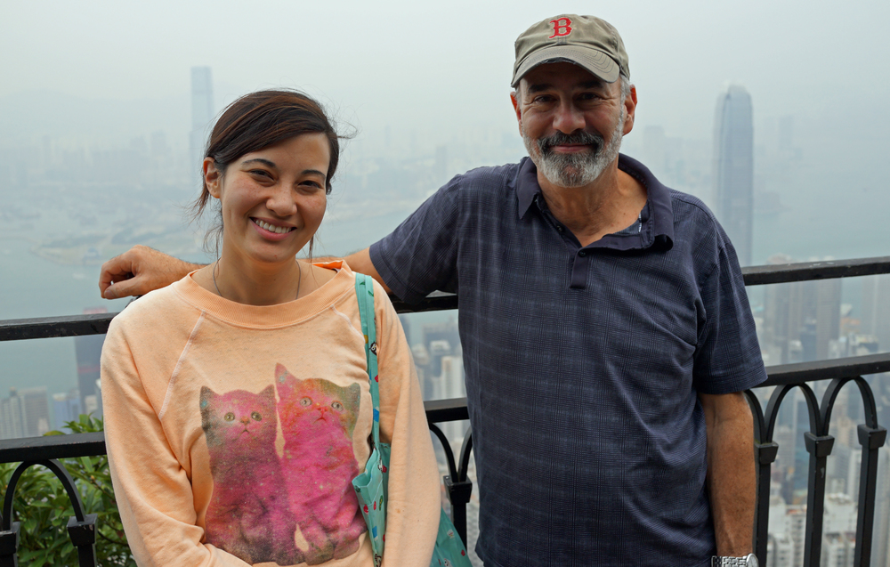 Carl and Emily enjoying the fabulous Hong Kong city views from my spot at the Peak.