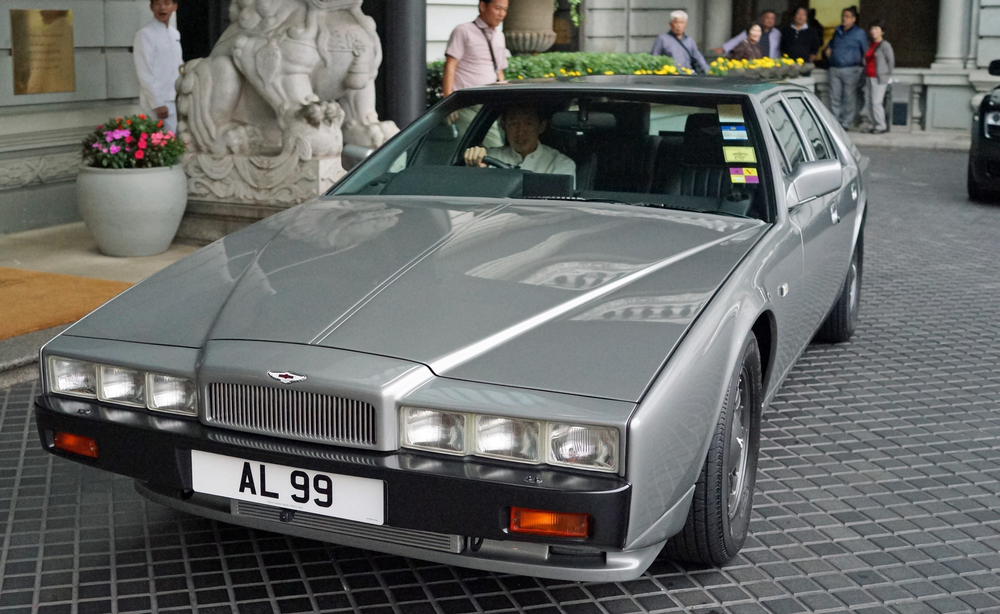 The absolutely massive and very rare Aston Martin Lagonda - a classic. Seen at the Peninsula Hotel in Kowloon.