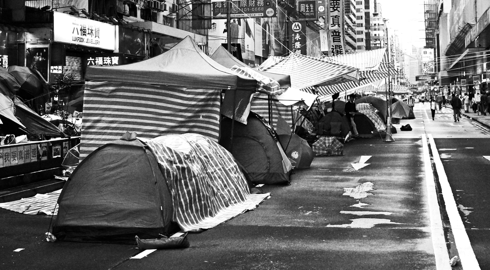 A black and white view of the Mong Kok street protests.
