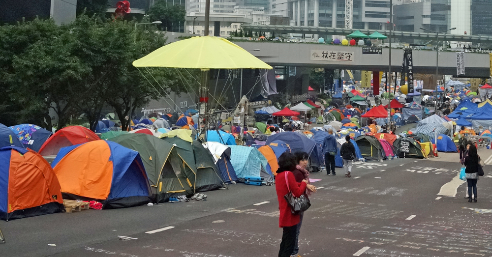 Time to bring in the water cannons and the goon squad. The protest site, Admiralty on Hong Kong Island