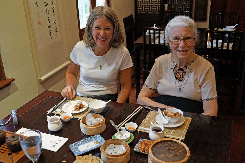 Shelley and Norma enjoying tea and veggie dim sum at the Lok Cha Tea House in Hong Kong Park