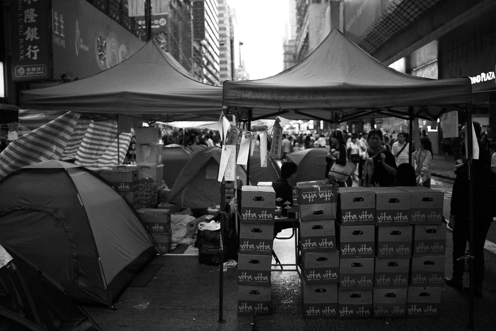 A moody image from the Mong Kok protest site - so who is paying for all the supplies??
