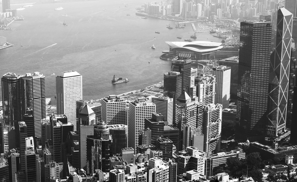 Hong Kong from the Peak in Black and White.