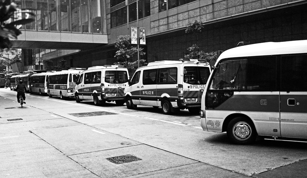 Police vans in Mong Kok -  Go here for all my Police related images