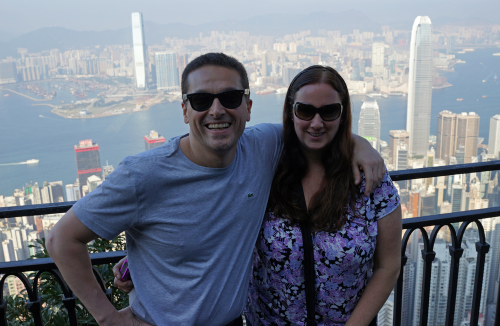 Jeff and Kim looking cool at my spot at Victoria Peak, another quite clear but hazy day, remember take a taxi up and the Peak Tram Hong Kong down.