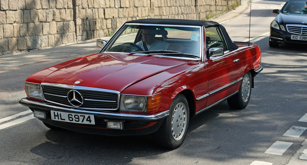 A classic Mercedes Benz sports car and the perfect car for a sunny Sunday drive