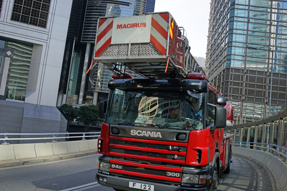That's me getting very close to a Fire Truck! - go here for all my images of Emergency Service Vehicles in Hong Kong