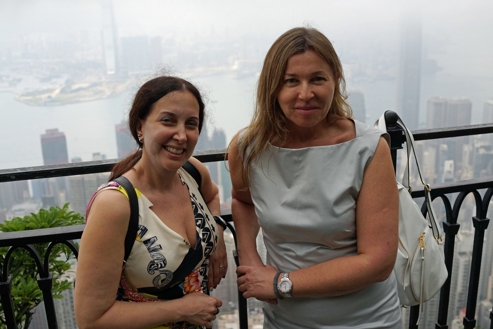 Meet Edita and Jessica, 2 physicians from the USA enjoying just the one day in Hong Kong.....it was a little cloudy at the Peak! -  go here for all of my images taken at the Peak