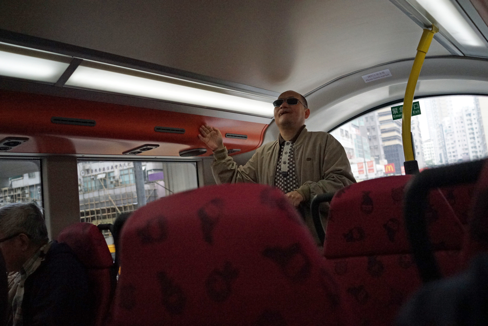 "The nutter on the bus - one of my favourite comedy sketches is the ""nutter on the bus"" by Jasper Carrott, he hits the nail right on the head. This ever so slightly odd chap was doing a really good Stevie Wonder impression right behind me, I attract all the nutters! -"