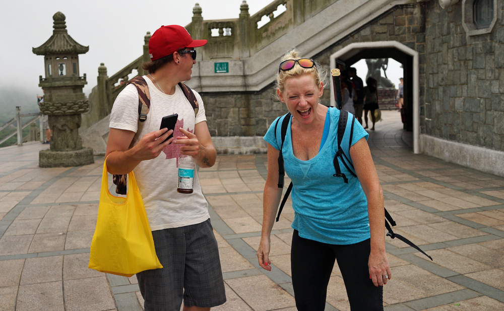 Sue and her nephew Stevie having a laugh at the Big Buddha on Lantau Island -  go here for all my images of my clients