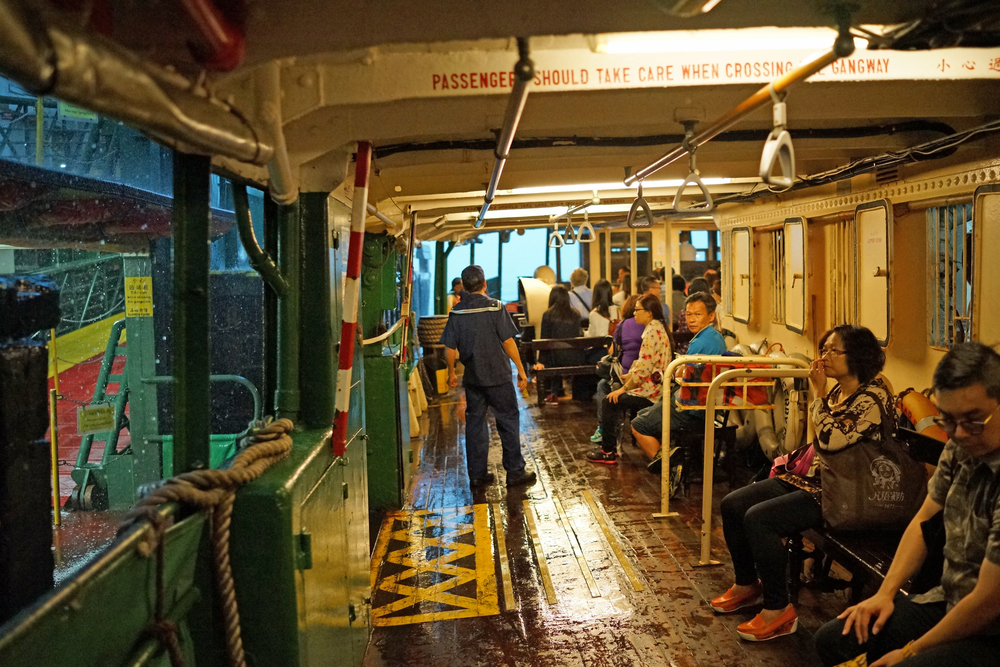 Me taking refuge on the Star Ferry on May 23rd during a violent thunderstorm