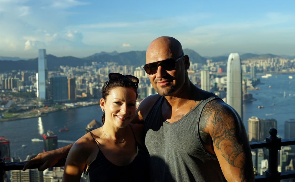 Cara and Martin enjoying the staggering sunny day views from my spot at the Peak -