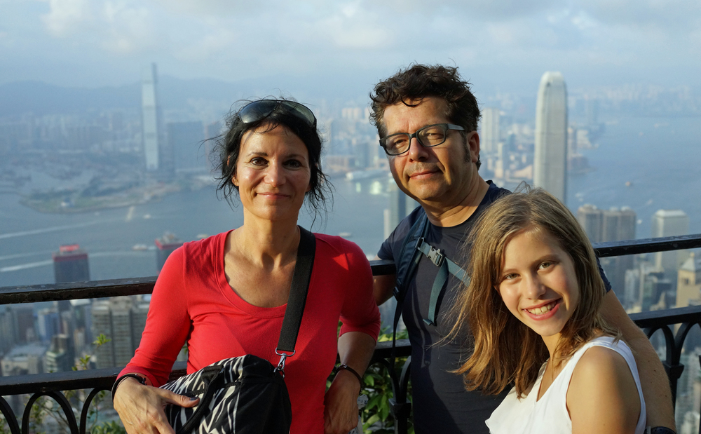 Marleen, hubby and daughter at my spot at the Peak -
