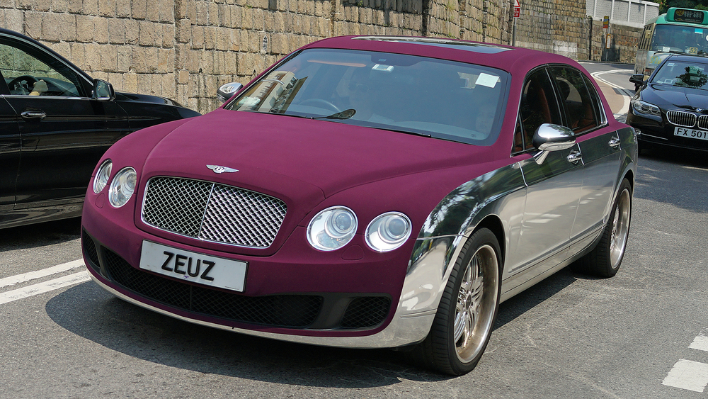 Bentley - ZEUZ  / It is like something out of bad James Bond Movie - I hope the material on the bonnet (hood) and roof is waterproof!! Just a little tacky. -  go here for my favourite car number plate images in Hong Kong