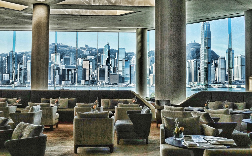 The Hotel Intercontinental on Salisbury Road in Kowloon has magnificent views from it's lobby...  go here for all of my favourite Hong Kong images