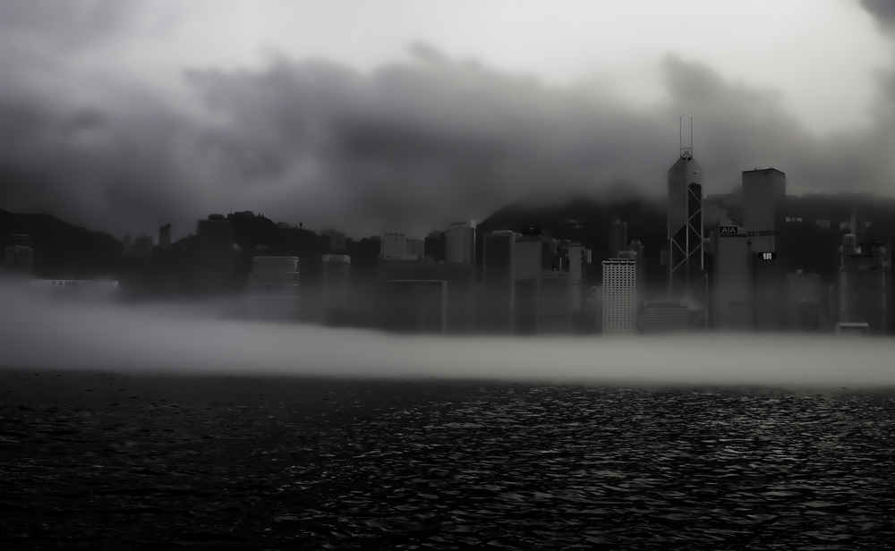 A foggy Hong Kong harbour!   Go here for all my Hong Kong Weather images