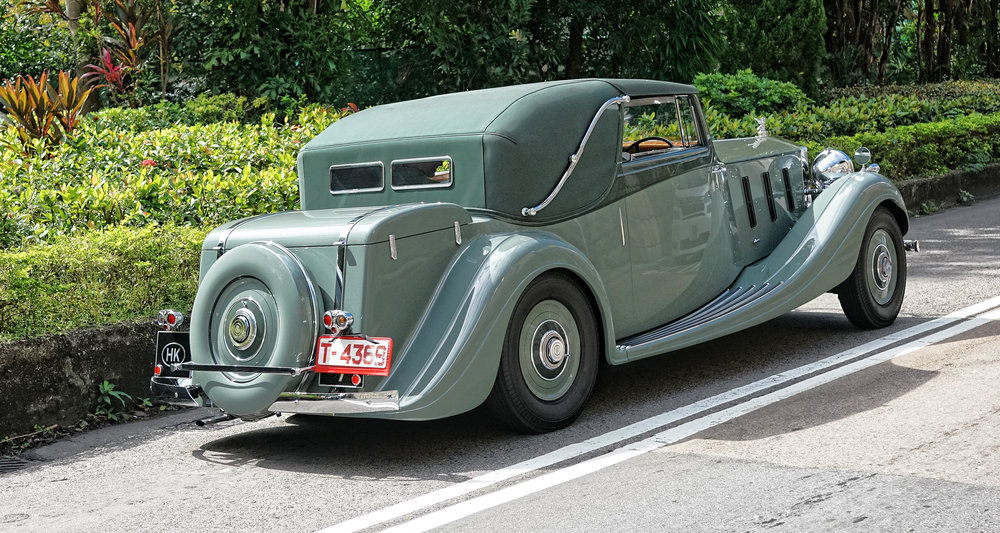 Another view of the Rolls Royce Phantom III from 1936, at the Hong Kong Country Club -  go here for all of my classic cars of Hong Kong images