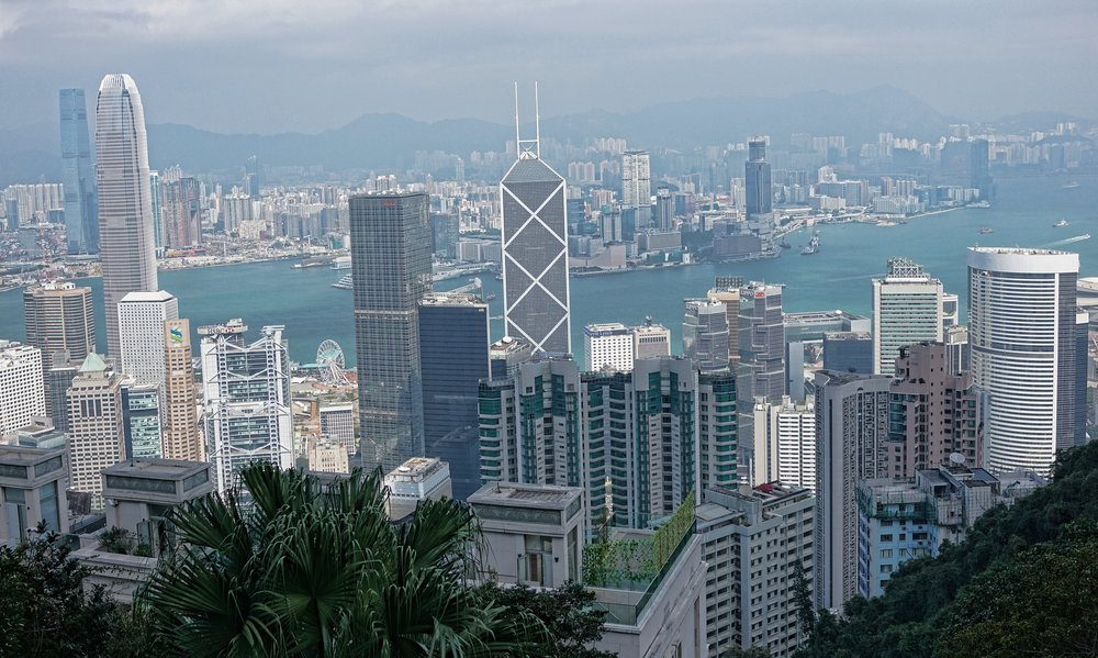 An interesting view of the business district in Hong Kong from Chatham Path... this Path is a major part of the lovely walk down from Victora Peak to May Road in the Mid Levels...a perfectly pleasant walk in the cooler winter months.
